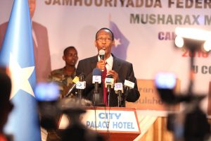 Former Somalia Prime Minister Ali Mohameed Gedi speaking when he launched he presidential bid at City Palace Hotel Mogadishu, Somalia in this picture taken on December 17, 2016. He seeks to turnaround the war-torn country if given the opportunity. More than 20 candidates are vying for the presidency. Photo/Billy Mutai