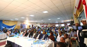 Former Somalia Prime Minister Ali Mohameed Gedi supporters following proceedings when he launched he presidential bid at City Palace Hotel Mogadishu, Somalia in this picture taken on December 17, 2016. He seeks to turnaround the war-torn country if given the opportunity. More than 20 candidates are vying for the presidency. Photo/Billy Mutai